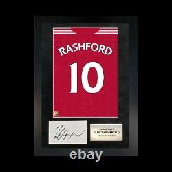 Authentic hand-signed A3 Frame Marcus Rashford Manchester Shirt Poster With COA