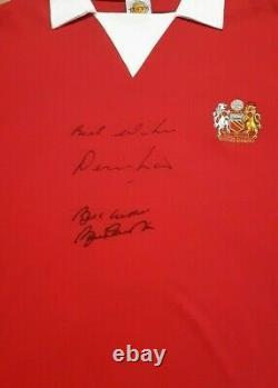 Bobby Charlton Denis Law Signed Manchester United Retro Shirt