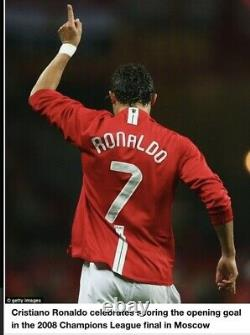 Cristiano Ronaldo CR7 Manchester United Signed Football Soccer 2008 Jersey Shirt