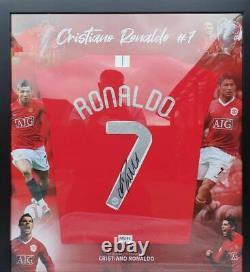 Cristiano Ronaldo Signed Manchester United 2008 CLF Shirt Framed