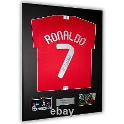 Cristiano Ronaldo Signed Manchester United Framed Shirt 2008 Moscow Final COA