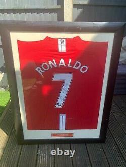 Cristiano Ronaldo Signed Number 7 Manchester United Shirt Memorabilia Framed