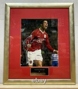 Cristiano Ronaldo at Manchester United Signed Autograph Framed Photo