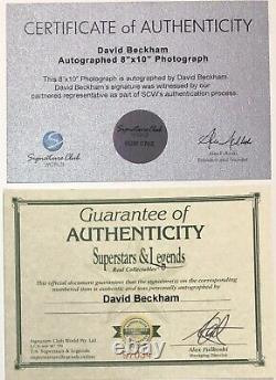 DAVID BECKHAM Autograph Signed Photo 8x10 Manchester United FRAMED Plaque COA