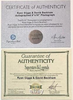 DAVID BECKHAM & RYAN GIGGS Autograph SIGNED 8x10 Photo Manchester Utd FRAMED COA