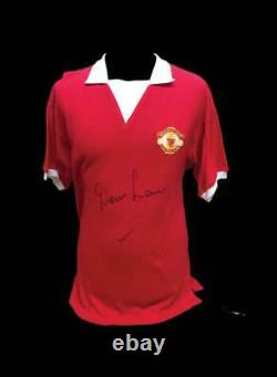 DENIS LAW SIGNED MANCHESTER UNITED 1970's RETRO SHIRT FOOTBALL COA SEE PROOF