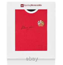 Denis Law Signed Manchester United Shirt Retro Gift Box Autograph Jersey