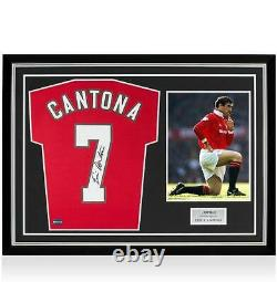 Eric Cantona Back Signed Manchester United Home Shirt In Hero Frame Option 1