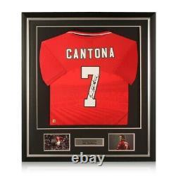 Eric Cantona Signed 1996 Manchester United Shirt. Deluxe Frame