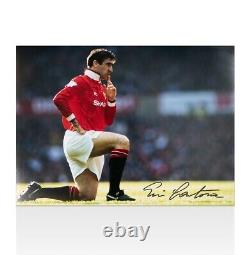 Eric Cantona Signed Manchester United Photo Knee Down Celebration Black Pen
