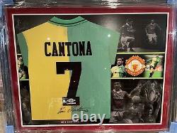 Eric Cantona Signed Manchester United Shirt Green Gold