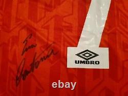 Eric Cantona Signed Number 7 Manchester United Man Utd Retro Remake Shirt