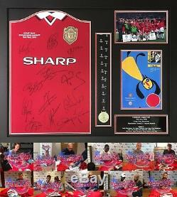 FRAMED MANCHESTER UNITED CHAMPIONS LEAGUE 1999 FOOTBALL SHIRT SIGNED x 12 PROOF