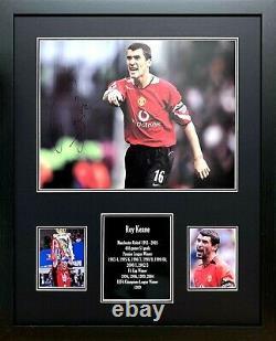FRAMED ROY KEANE SIGNED MANCHESTER UNITED 16x12 FOOTBALL PHOTO COA & PROOF