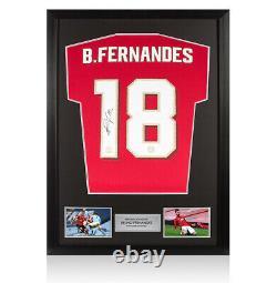 Framed Bruno Fernandes Signed Manchester United Shirt 2020-2021, Number 18 MUF