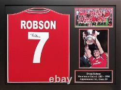Framed Bryan Robson Signed Manchester United 7 Shirt With Coa Proof