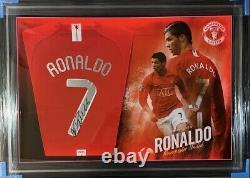 Framed Cristiano Ronaldo Signed Manchester United Champs League Football Shirt