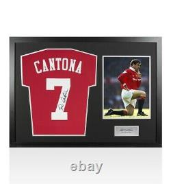 Framed Eric Cantona Signed Manchester United Shirt Home 2019-2020 Panoramic
