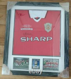 Framed Hand Signed Nicky Butt 1999 Manchester United Champions League Shirt