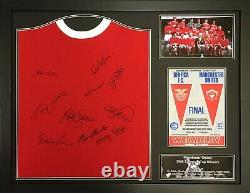 Framed Manchester United 1968 Home Football Shirt Signed By 10 With Charlton Coa