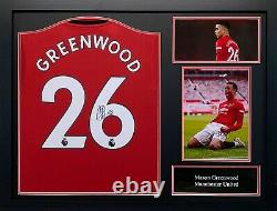 Framed Mason Greenwood Signed Manchester United Football Shirt See Proof Coa