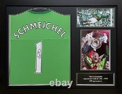 Framed Peter Schmeichel Signed Manchester United Goalkeeper With Shirt & Proof