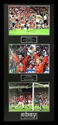 Framed Signed Manchester United 1999 Treble Photo Display Cole Ole & Teddy Proof