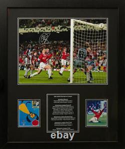 Framed Solskjaer Signed Manchester United Champions League 1999 Photo Coa Proof