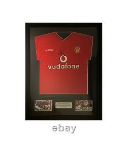 Framed Vintage Signed (ryan Giggs) Manchester United 2000-01 Home Shirt ++coa