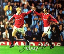 Giggs & Scholes Dual Signed 16x20 Manchester United Football Photo Proof Coa