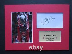 MANCHESTER UNITED DAVID BECKHAM GENUINE HAND SIGNED A4 MOUNTED CARD withPHOTO- COA