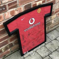Manchester United 2002/03 Framed Signed Shirt 16 Signatures Including Beckham