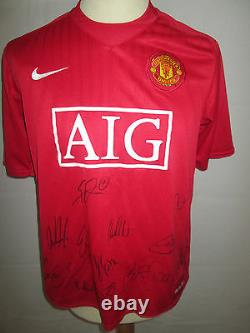 Manchester United 2007-2008 Squad Signed Home Football Shirt COA /34383