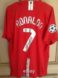 Manchester United 2008 Ucl Signed Autograph Shirt 7 Jersey Ronaldo+giggs+scholes
