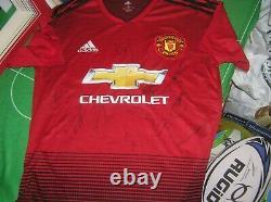 Manchester United FC 2018/19 Season Squad Signed Shirt Lingard Martial Lukaku