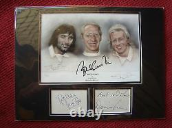 Manchester United George Best Bobby Charlton Denis Law Signed Photo Display