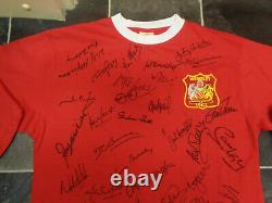 Manchester United Legends Signed Football Shirt Coa X 42 Wilkins Robson Cole Etc