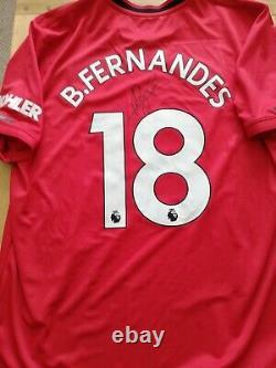 Manchester United Number 18 Home Man Utd Shirt Signed Bruno Fernandes