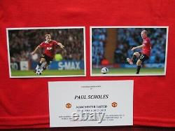 Manchester United Official Merchandise Paul Scholes Signed T-shirt Jersey -coa