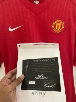 Manchester United Shirt Home 2007/08 MATCH WORN Nani Size L COA Signed Original