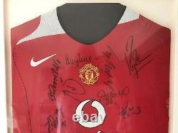 Manchester United Signed & Framed Home Shirt 2005/06 Giggs, Ronaldo, Rio & Coa