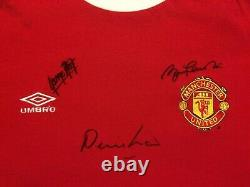 Manchester United Umbro Retro Shirt Signed Best Law Charlton With Guarantee