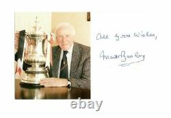 Matt Busby Hand Signed Manchester United Club Card Very Rare Holding Fa Cup