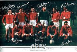 Multi Signed 1968 Manchester United Squad 18x12 Autograph Photo AFTAL COA RARE