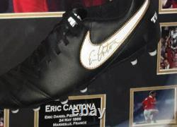 NEW Eric Cantona of Manchester United Signed Football Boot Display
