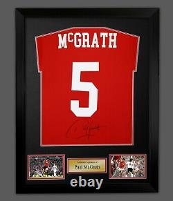 Paul Mcgrath Signed Manchester United Football Shirt In A Framed Presentation