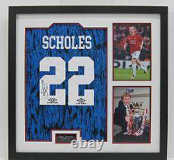 Paul Scholes FRAMED Signed Manchester United F. C. Retro Jersey AFTAL (B)