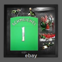 Peter Schmeichel Signed Manchester United Football Shirt In Framed Display