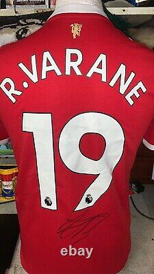 Raphael Varane Hand Signed Name And Number 21/22 Manchester United Home Shirt