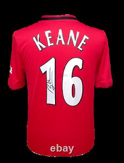 Rare Roy Keane Signed Manchester United 16 Football Shirt With Coa & Proof